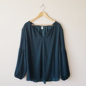 Teal/Green Satin Puff Sleeve Blouse